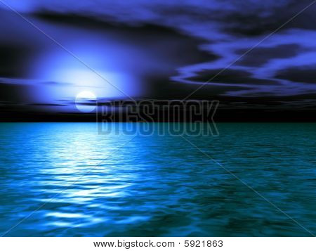 Stormy Caribbean Dusk - 3D Illustration