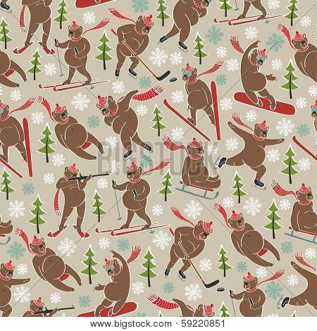 Brown Bear In Winter Sport.seamless Pattern Or Background
