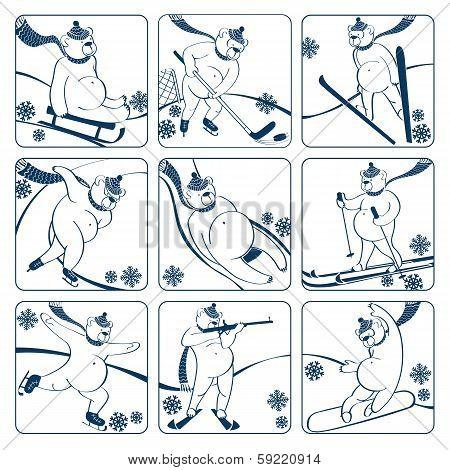 Set Of White Bear Plays Winter Sport.graphics Humor Illustration