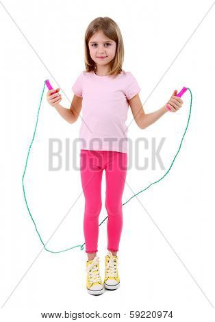 Beautiful little girl doing exercises isolated on white