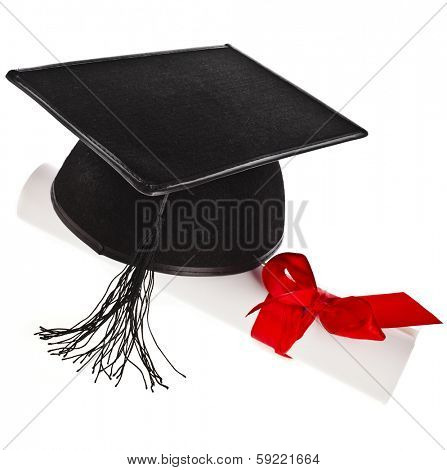 Black Graduation Cap with Degree Isolated on White Background