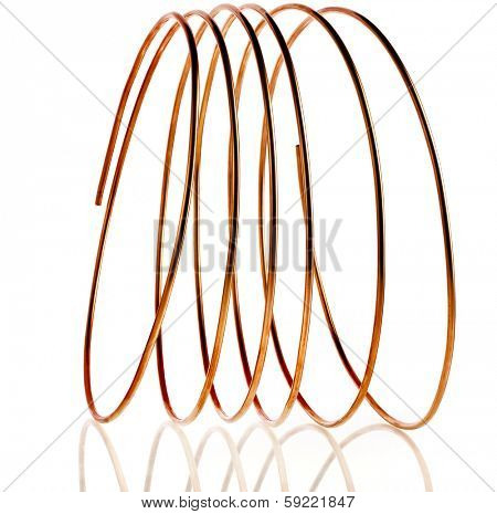 copper pipes isolated on white background