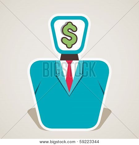 dollar symbol on businessmen face