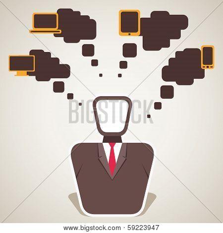 businessmen think electronic item