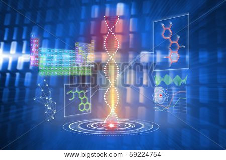 DNA helix interface against glowing squares on blue background