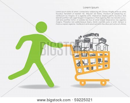 running man with shopping cart