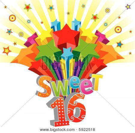 Funky vector Sweet 16 card