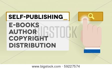 minimalistic illustration of a search bar with self-publishing keyword and associations, eps10 vector