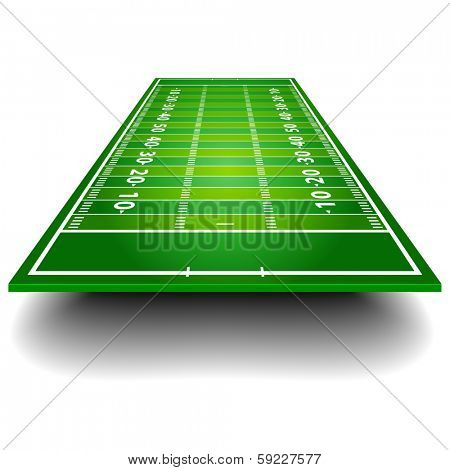 detailed illustration of an American Football field with perspective, eps10 vector