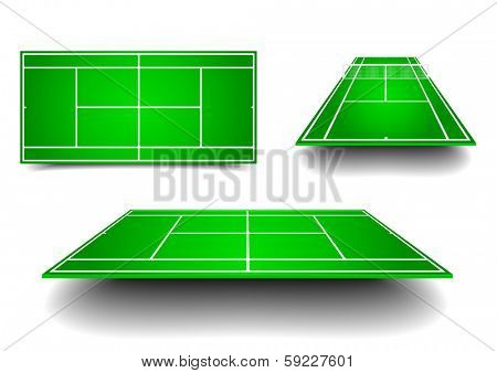 detailed illustration of tennis courts with different perspectives, eps10 vector