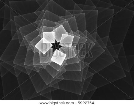Monochrome Squares Spiral - Fractal Design