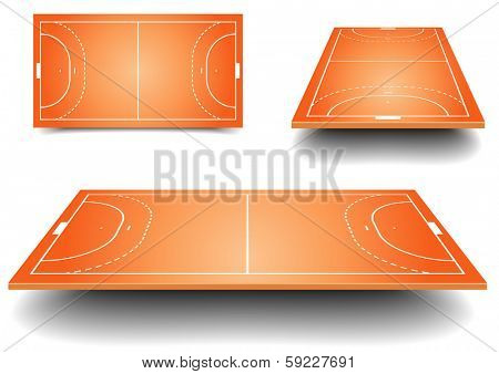 detailed illustration of a handball fields with perspective, eps10 vector