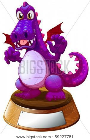 Illustration of a mad dragon above the trophy stand with an empty label on a white background