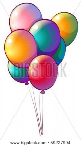 Illustration of the seven rainbow-colored balloons on a white background