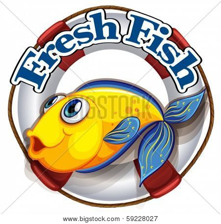 Illustration of a fresh fish label with an image of a fish on a white background