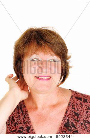 Happy Woman Correcting Her Hair