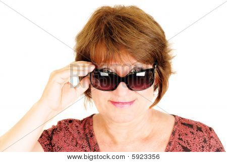 Woman Wearing Sunglasses On The White.