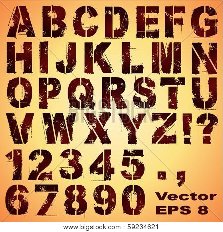 An Alphabet Set of Grunge Stencil Letters and Numbers
