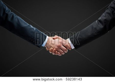 Close up view of hand shake of business people. Concept of trustworthy relations and business cooperation