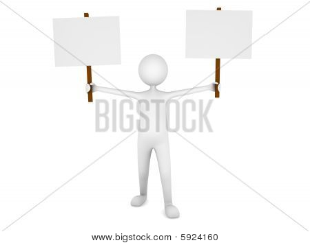Man holding two blank sign boards