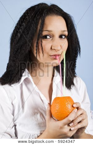 Close Up Of Drinking Girl Orange Fresh