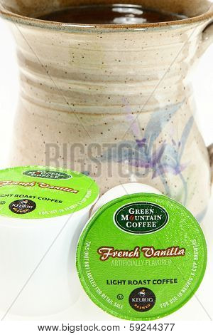 NASHVILLE, TN--JAN 31, 2014: Green Mountain Coffee K-cups. Supporting local and global communities through investing, and donating a portion of its pretax profits to social and environmental projects.