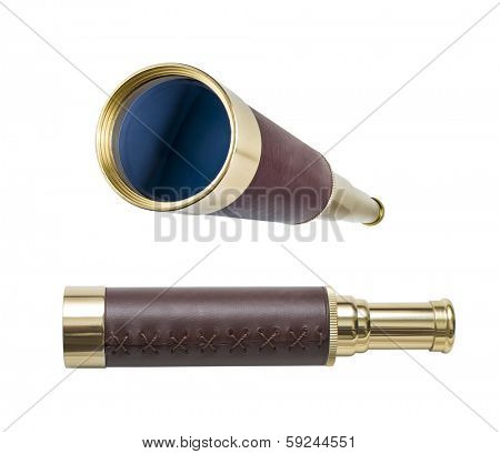 Spyglass or telescope isolated on white. All in focus. Clipping path is included.
