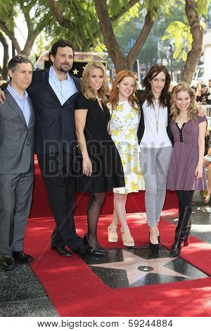 LOS ANGELES - JAN 29: Chris Parnell, Jeremy Sisto, Cheryl Hines, Jane Levy, Carly Chaiken, Allie Grant as Cheryl Hines is honored on the Hollywood Walk of Fame on January 29, 2014 in Los Angeles, CA