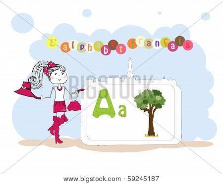 Alphabet Francais. French Alphabet, Vector A