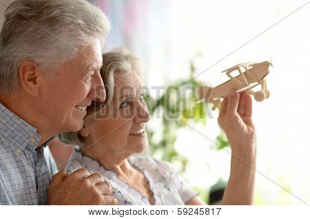 Senior couple with wooden plane