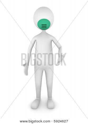 Man wearing flu mask