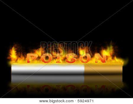 Cigarete is poison in fire over black