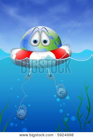 Planet earth with hilfboy in global economic crisis