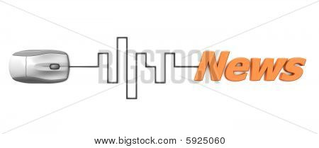 Orange Word News With Grey Mouse - Digital Cable