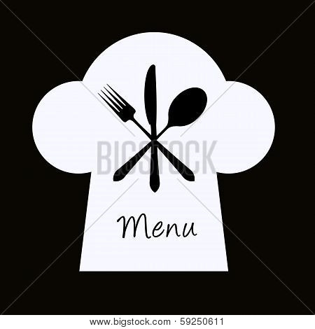 Chef Hat With Fork, Knife And Spoon - Menu Concept