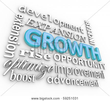Growth Words Expand Increase 3d Background Collage