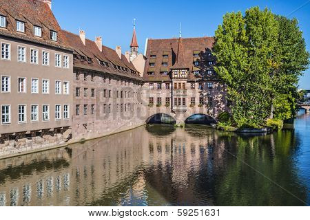 Nuremberg, Germany at the historic Hospital of the Holy Spirit on the Pegnitz River.