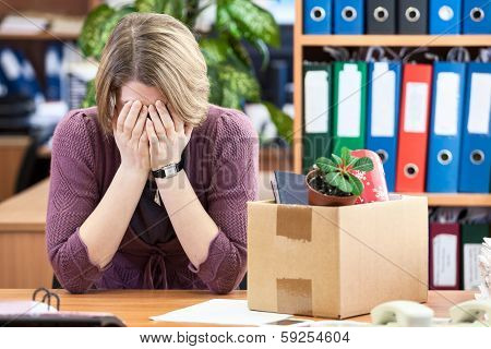 Dismissed Woman Crying, Last Time Sitting At Your Desk