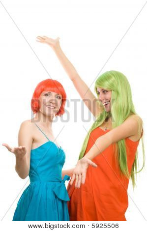 Two Surprised Young Women With Color Hair
