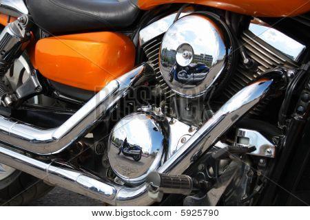Primer plano de motor de la motocicleta