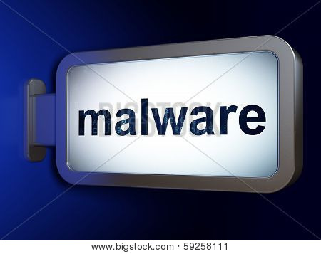 Safety concept: Malware on billboard background