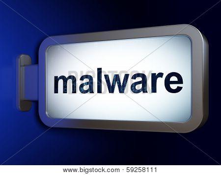 Safety concept: Malware on billboard background