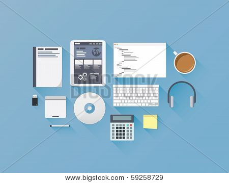 Web development coding flat icon set vector illustration