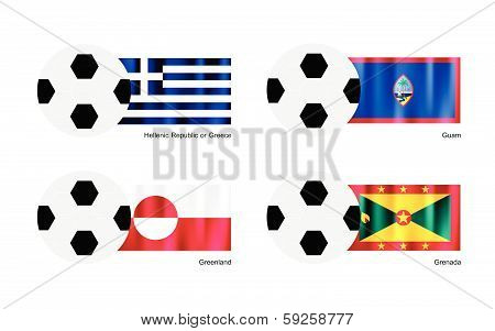 Soccer Ball With Greece, Guam, Greenland And Grenada Flag