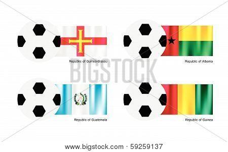Soccer Ball With Guinea Bissau, Albania, Guatemala And Guinea Flag