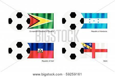 Soccer Ball With Guyana, Honduras, Haiti And Herm Flag