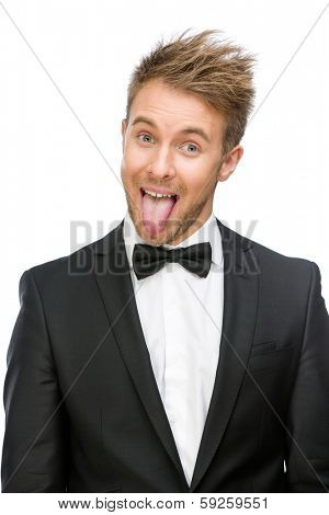 Half-length portrait of showing tongue businessman, isolated on white. Concept of fun and carefree