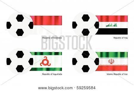 Soccer Ball With Indonesia, Iraq, Ingushetia And Iran Flag