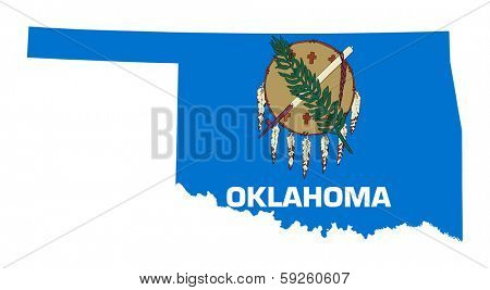State of Oklahoma flag map isolated on a white background, U.S.A.
