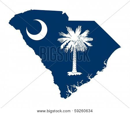 State of South Carolina flag map isolated on a white background, U.S.A.